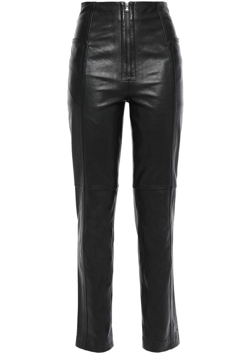 Tibi Woman Leather Slim-leg Pants Black