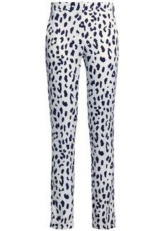 Tibi Woman Leopard-print Silk Crepe De Chine Slim-leg Pants White
