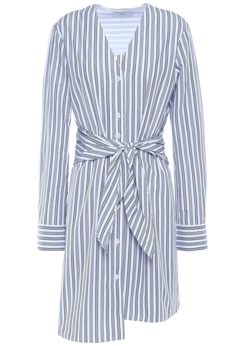 Tibi Woman Liam Tie-front Striped Cotton-poplin Mini Shirt Dress Light Blue
