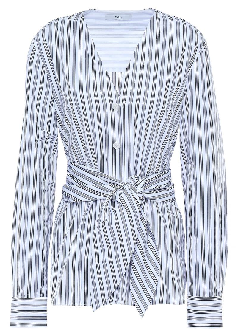 Tibi Woman Liam Tie-front Striped Cotton-poplin Shirt Light Blue