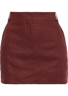 Tibi Woman Linen-canvas Mini Skirt Burgundy