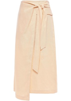 Tibi Woman Asymmetric Linen Midi Wrap Skirt Sand