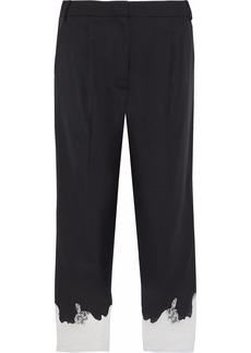 Tibi Woman Lou Lou Cropped Lace-trimmed Twill Straight-leg Pants Black