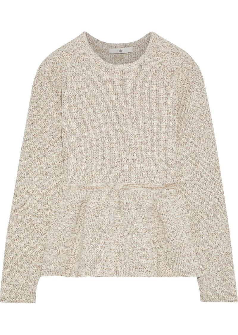 Tibi Woman Marled Knitted Peplum Sweater Cream