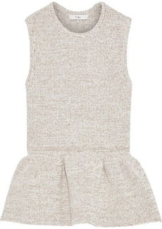 Tibi Woman Marled Knitted Peplum Top Cream