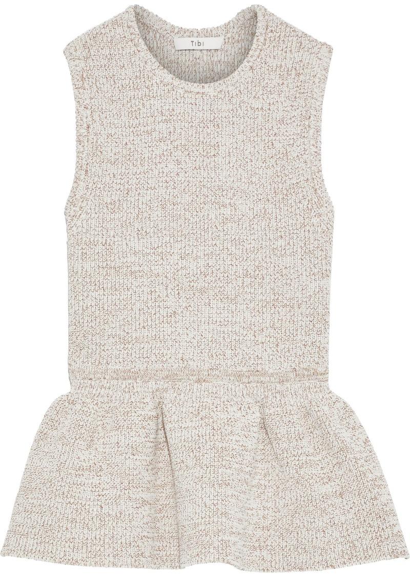 Tibi Woman Marled Knitted Peplum Top Cream