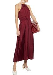 Tibi Woman Pleated Satin-twill Midi Dress Brick