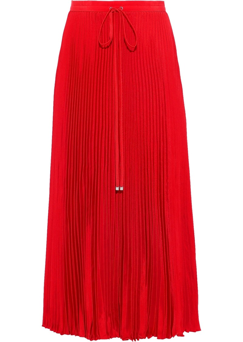 Tibi Woman Mendini Pleated Satin-twill Midi Skirt Tomato Red