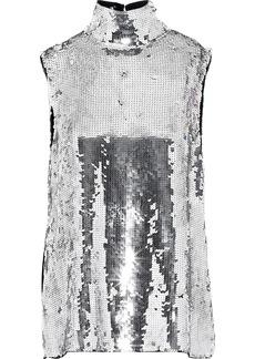 Tibi Woman Metallic Sequined Silk Turtleneck Top Silver