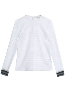 Tibi Woman Metallic-trimmed Open-knit Top White