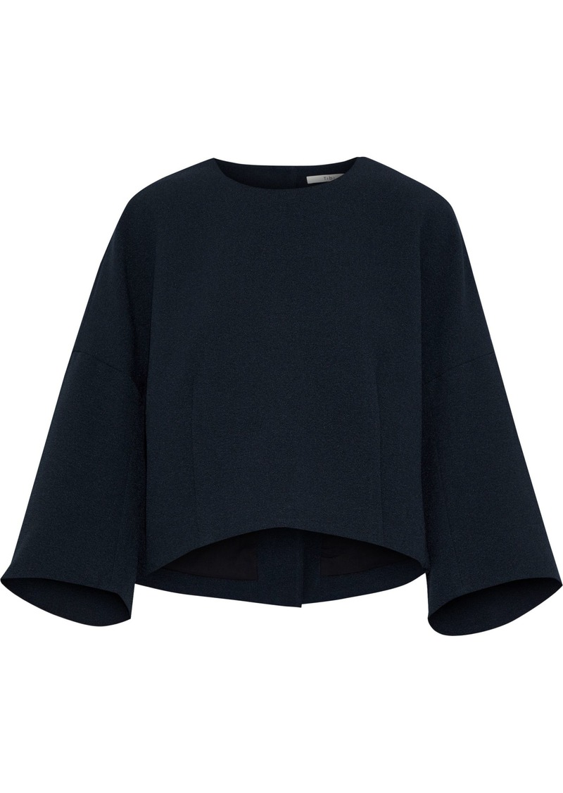 Tibi Woman Mica Cropped Button-detailed Crepe Top Midnight Blue