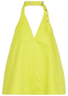 Tibi Woman Neon Coated Cotton-poplin Halterneck Top Bright Yellow