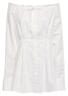Tibi Woman Off-the-shoulder Gathered Cotton-poplin Blouse Ivory