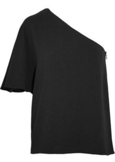 Tibi Woman One-shoulder Stretch-crepe Top Black