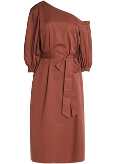 Tibi Woman One-shoulder Tie-front Cotton-poplin Dress Brown