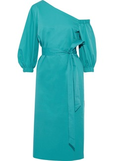 Tibi Woman One-shoulder Tie-front Cotton-poplin Dress Teal