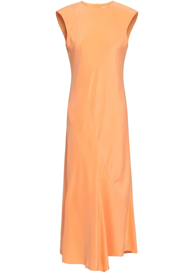 Tibi Woman Open-back Silk Crepe De Chine Midi Dress Pastel Orange