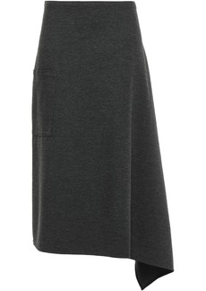 Tibi Woman Origami Asymmetric Stretch-jersey Midi Skirt Charcoal