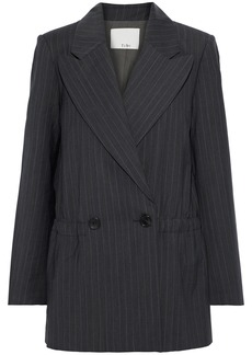 Tibi Woman Oversized Double-breasted Pinstriped Wool-blend Blazer Gray