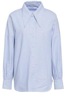 Tibi Woman Oversized Striped Cotton-oxford Shirt Sky Blue
