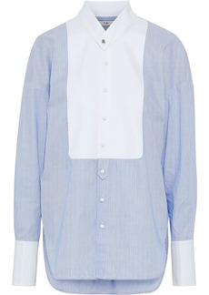 Tibi Woman Oversized Striped Cotton-poplin Shirt Sky Blue