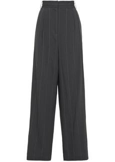 Tibi Woman Pinstriped Linen-blend Wide-leg Pants Gray