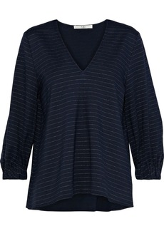Tibi Woman Pinstriped Stretch-jersey Blouse Midnight Blue