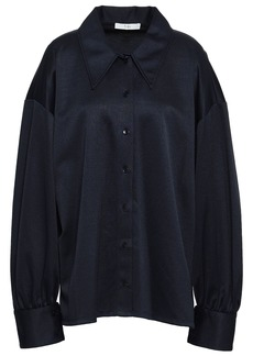 Tibi Woman Piqué Shirt Midnight Blue