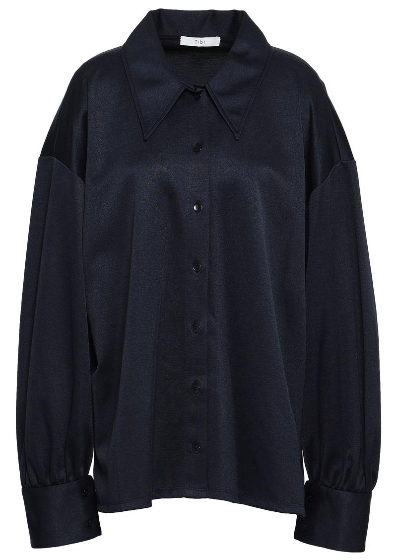 Tibi Woman Piqué Shirt Midnight Blue