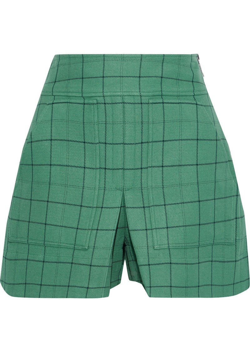 Tibi Woman Pleated Checked Twill Shorts Mint