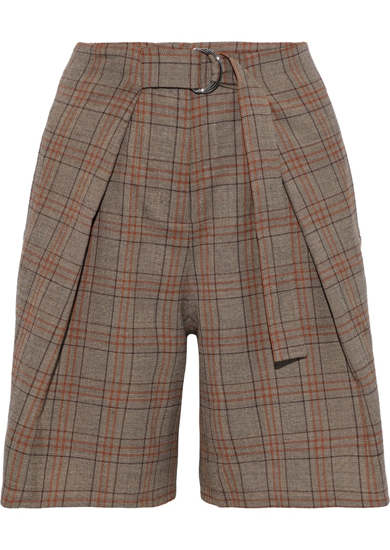 Tibi Woman Pleated Checked Woven Shorts Brown