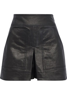 Tibi Woman Pleated Coated Denim Shorts Gunmetal