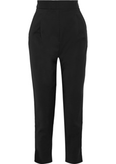Tibi Woman Pleated Crepe Tapered Pants Black