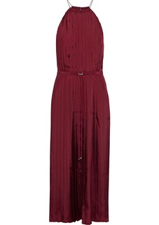 Tibi Woman Mendini Pleated Satin-twill Midi Dress Brick