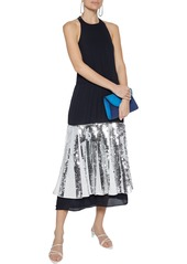 Tibi Woman Pleated Sequin-embellished Poplin And Silk-georgette Midi Dress Navy