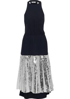 Tibi Woman Pleated Sequin-embellished Poplin And Silk-georgette Midi Dress Navy