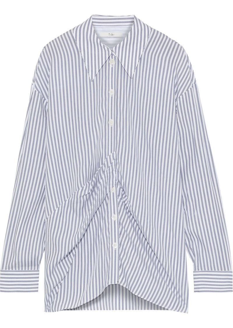 Tibi Woman Pleated Striped Tencel Shirt White