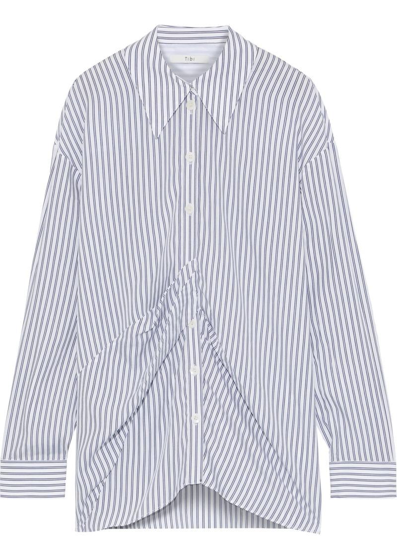 Tibi Woman Pleated Striped Tencel Shirt White
