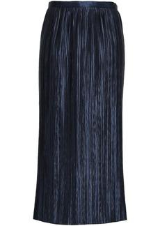 Tibi Woman Plissé-satin Midi Skirt Navy