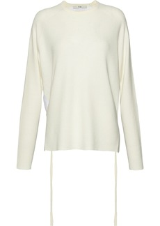 Tibi Woman Poplin-paneled Merino Wool Sweater Ecru