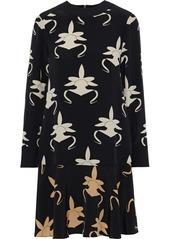 Tibi Woman Printed Silk-crepe Dress Black