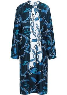 Tibi Woman Pussy-bow Paneled Printed Silk-twill Midi Dress Navy