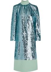 Tibi Woman Reversible Sequined Crepe Midi Dress Mint