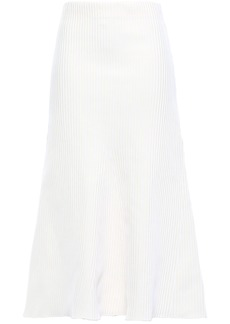 Tibi Woman Ribbed-knit Midi Skirt Cream