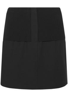 Tibi Woman Ribbed Knit-paneled Crepe Mini Skirt Black