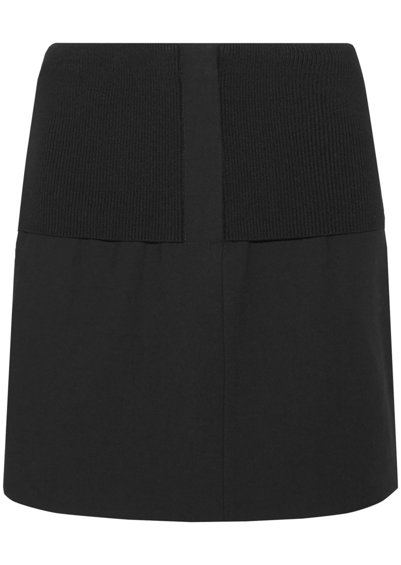 Tibi Woman Ribbed Knit-paneled Crepe Mini Skirt Black
