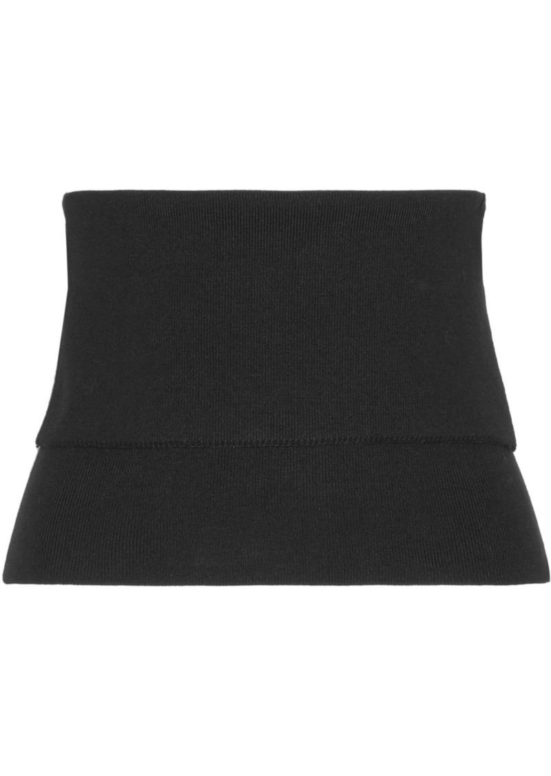 Tibi Woman Ribbed Wool-blend Bustier Top Black