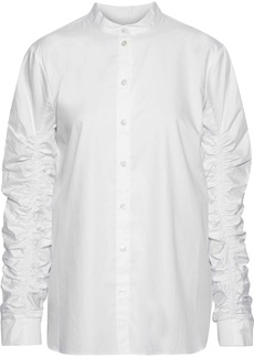 Tibi Woman Ruched Cotton-poplin Shirt White