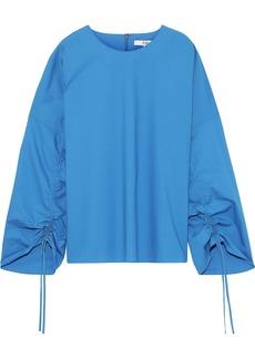 Tibi Woman Ruched Cotton-poplin Top Azure