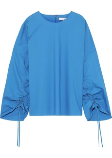 Tibi Woman Ruched Cotton-poplin Top Azure
